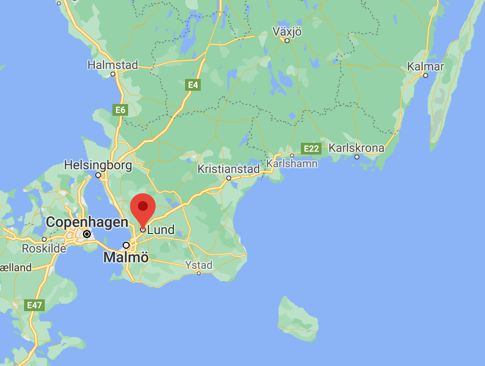 Map of Southern Sweden showing the location of the electric road demonstration site.